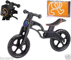 """Pop Bike Children Kids Learn Balance Bike 12"""" EN71 & CE Certified Safety BLACK"""