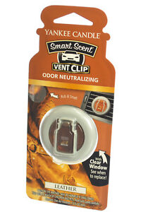 Yankee Candle Smart Scent Vent Clip Car & Home AC Air Freshener, Leather