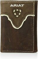 Ariat Mens Distressed Shield Inlay Western Brown Leather Trifold Wallet
