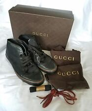 GUCCI SHOES HIGH TOP BLACK LEATHER CANVAS TRAINERS SNEAKERS Size US 10 Men's