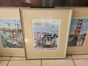 Beautiful 3 Vintage San Fransisco Prints Don Davey Golden Gate Bridge Framed