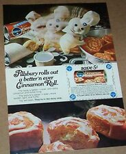 1969 ad page - Pillsbury cinnamon rolls CUTE Doughboy print vintage advertising