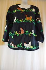 Michael Simon Event Sweater Cardigan Cats Kittens Christmas Holiday Size XL 1466