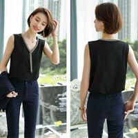 Women Chiffon Tank Tops V Neck Tunic Blouse Loose Casual Sleeveless Shirt Black