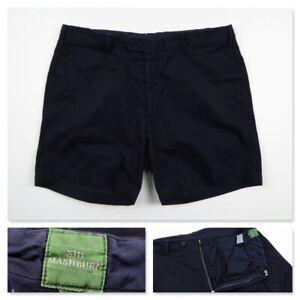 Sid Mashburn Mens Navy Solid Chambray Flat Front Cotton Shorts Size 38 USA