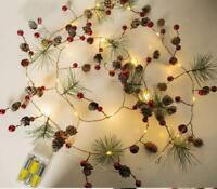 Christmas Tree Strings Lights Fairy Pine Cone LED Garland Xmas Party Home Decor