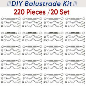 20x Stainless Steel G. 316 Wire Rope DIY Balustrade Kit Eye/Eye Fork Turnbuckle