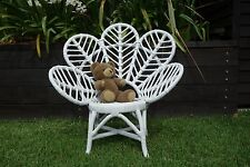 NEW Balinese Childrens Flower Rattan Chair in Bright White