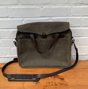 Filson 256 Men's Messenger Shoulder Crossbody Bag USA Made Khaki Canvas Leather