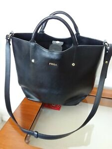FURLA Shiny Black SAFFIANO Leather Medium Size TOTE Bag