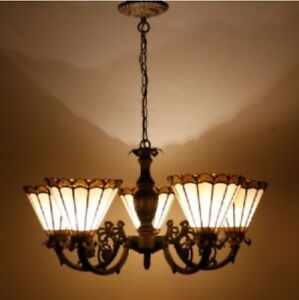 Tiffany Style Chandelier Vintage 5 Arms Hanging Stained Glass Handcrafted Light