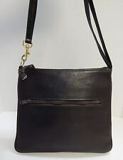 Lederer Italy Brown Pebbled Leather Slim Shoulder Bag