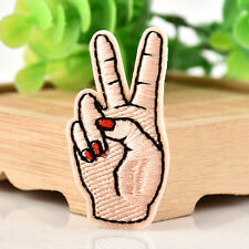 DIY Peace Sign Hand Iron On Patch Embroidered Applique Sticker Sewing Patch