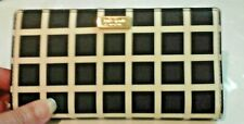 KATE SPADE Shore Street Stacy Black & White Leather Clutch Wallet,Prestine,c-pic