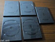 Lot of 5 Empty Blank Single CD DVD Cases - Black