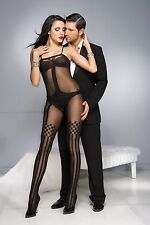 Black Sheer Opaque Striped Faux Suspender Style Bodystocking Sexy Lingerie P1026