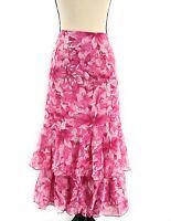 Jessica London Womens Midi Skirt Pink Floral Plus Size 20W 22W 2X Tiered