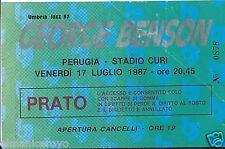BIGLIETTO CONCERTO GEORGE BENSON PERUGIA STADIO CURI UMBRIA JAZZ 17 LUGLIO 1987