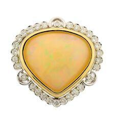 14.41ctw Australian Opal Heart Shape Ring with Diamond Halo Ring 14k 2tone Gold