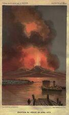 Napoli: Pittoresca Eruzione del Vesuvio 1872. Cromolitografia.Stampa Antica.1880