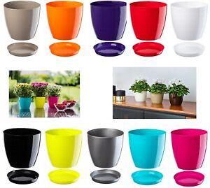 Flower Pots 20 Colours 9 sizes Plastic Plant Pots Planter Saucer Tray Deco