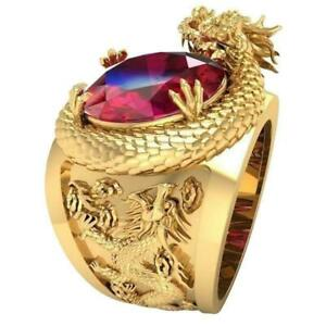 Personality Domineering Dragon Red Crystal Rings Luxury FHTE Style Punk Hop O7E5