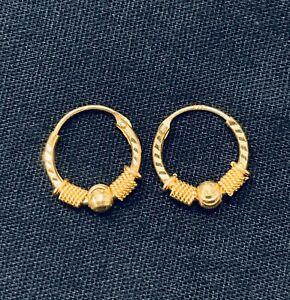 22k Yellow Gold Hook Hoop Earrings