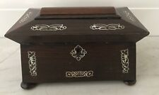 Antique Georgian /Victorian Rosewood & Mother of Pearl Tea Caddy-2 compartments