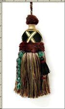 "Castellano Beltrame BLACK DEEP CRIMSON GREEN TEAL GOLD Decorative 7"" Key Tassel"