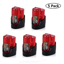 5 Pack New 12V 1.5Ah Lithium-ion Battery for Milwaukee M12 48-11-2420 48-11-2401