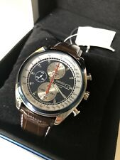 Seiko SNDF95P1 Chronograph Watch Leather Strap Panda Mens 7t92 0rt0 Racing