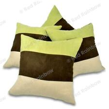 """Set of 4 Lime Green Brown  & Cream 18"""" / 45 cm Soft Faux Suede Stripe Cushion Co"""