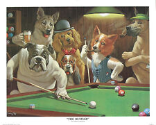 CLASSIC DOGS PLAYING POOL DECOR ART PRINT THE HUSTLER BY ARTHUR SARNOFF POSTER