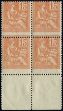 Lot N°4495 France Variété N°117 Bloc de 4 piquage à cheval Neuf ** LUXE