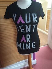 BNWT:black /pink T shirt: Your Tent Or Mine:festival/glamping:size Xs😎