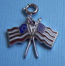 States flags sterling charm Vintage enamel pair of United
