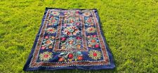 Hand Embroidered Wall Hanging Uzbek Silk Suzani Blue sky Vintage Embroidery