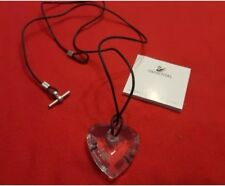 Swarovski Signed White Crystal Heart with Black Leather Chain Necklace