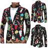Christmas Ugly Funny Suit Blazer Mens Jackets Snowman Print Xmas Slim Fit Suits