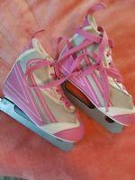 Star Glide Double Blade Girl's Pink, Gray & White Ice Skates Size Jr.13