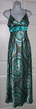 Women's Long Dress Medium 7/8 Psychedelic Pattern Turquoise Blue Sleeveless New