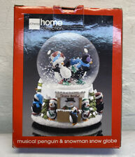 JC Penny Collection Penguin/Snowman Musical Snow Globe Deck The Hall Ice Skating