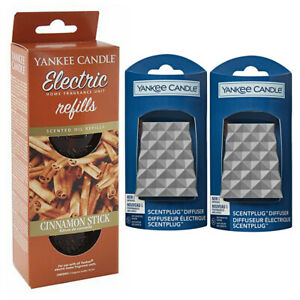 2 x FACETED plugs/REFILLS YANKEE CANDLE Scent Plug In CINNAMON STICK STARTER SET