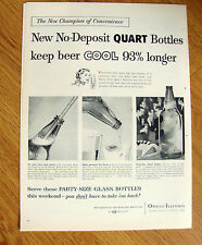 1956 Beer Ad Party Quarts Bottle Beer Cool 93% Longer