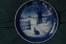 Vintage 1971 Royal Copenhagen Christmas Plate Rabbit / Hare in Winter