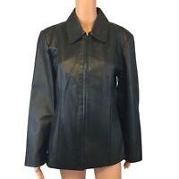 Worthington Black Full Zip Leather Jacket Coat Women's Size Medium
