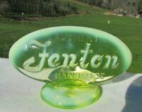 Fenton Topaz-Vaseline Opalescent Oval Display Logo Dealer Sign FAGCA 1980
