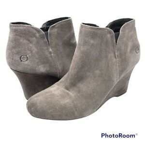 Born Crown Collection Women's 8.5 Faylan Gray Suede Wedge Ankle Bootie Slip on