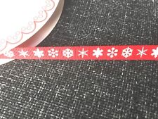 Bertie's Bows Snowflakes Ribbon 9mm by 2 Metres 2 Colours White Snowflake on Red