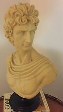 Vintage Decoline Greek Roman Bust Statues Hand Made Painted Faux Marble pedestal